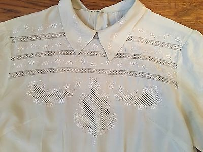 Vintage 1940s 30s WW11 Pale Green Embroidered Silk Blouse Shirt Deco Goodwood
