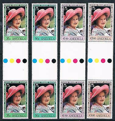 Anguilla 1980 80th Birthday Queen Mother GUTTER PAIRS SG 411/4 MNH