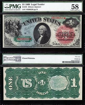 """Awesome *RARE* HIGH GRADE 1869 $1 """"RAINBOW"""" Legal Tender Note! PMG 58! V9298256*"""