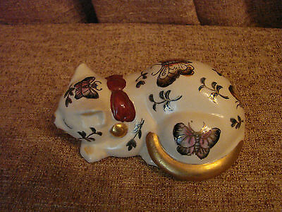 TAKAHASHI HAND PAINTED CERAMIC CAT w/ BUTTERFLIES - Japan