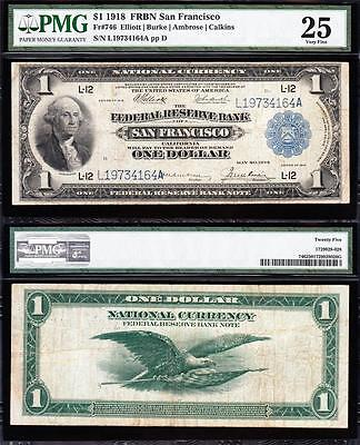 VERY NICE Bold & Crisp VF 1918 SAN FRANCISCO $1 GREEN EAGLE FRBN! PMG 25 9734164