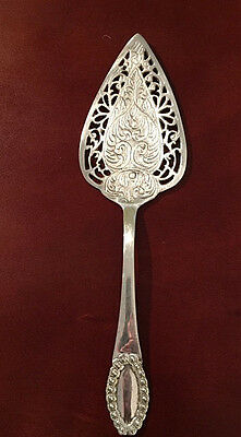 "Very Large Cake Pie Server Silver-Plated Nice Details 11.50 x 3"" Substantial"