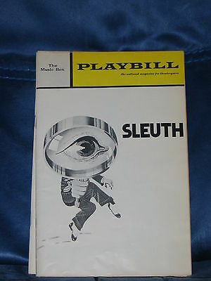 """Playbill For """"sleuth"""" Anthony Quayle Keith Baxter Jan 1971 Music Box Theatre"""