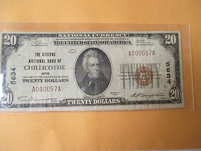 1929 $20 The Citizens National Bank Of Chillicothe,ohio Super Low Serial #57