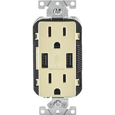 3-Leviton 3.6A Ivory 2-Port USB Charging Outlet With 5-15R Outlet R01-T5632-0BI