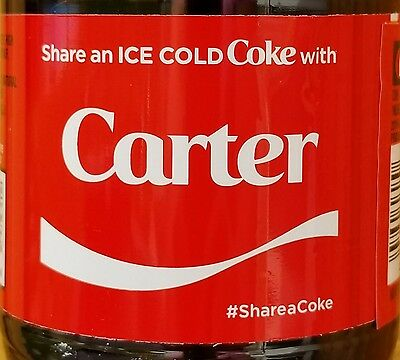 Brand New 2017 Share A Coke With Carter 20 Oz Coca Cola Collectible Bottle