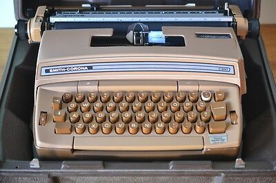 Vintage brown portable electric Typewriter Smith Corona retro