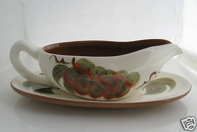 Stangl ORCHARD SONG Hand Painted Gravy Boat & Plate Liner Under Plate