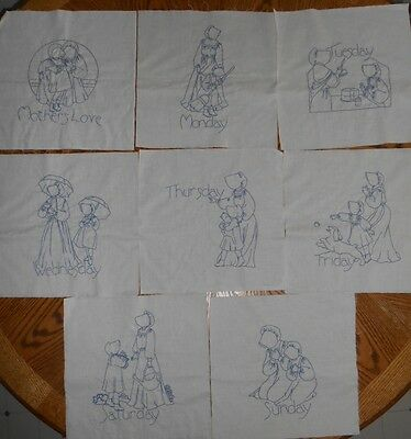 8 Vintage Quilt Blocks Hand Embroidered Bluework MOTHER'S LOVE Amish 7 Day 12""