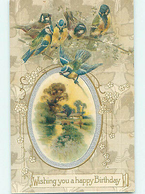 Pre-Linen GROUP OF BEAUTIFUL BLUE AND YELLOW BIRDS PLUS COUNTRY SCENE HJ4819