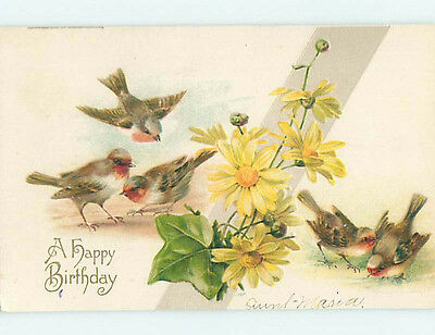 Pre-Linen LOTS OF BEAUTIFUL BIRDS WITH YELLOW DAISY FLOWERS HJ4435