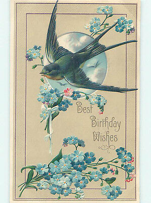 Pre-Linen BEAUTIFUL LARGE BIRD OVER THE MOON WITH FORGET-ME-NOT FLOWERS HJ4476