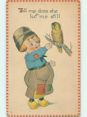 Pre-Linen comic BOY TRIES TO TOUCH OUR BIRD ON BRANCH HJ1801