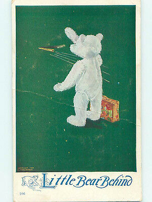Pre-Linen LITTLE BEAR BEHIND - TEDDY BEAR WITH SUITCASES WAVES GOODBYE HJ4919