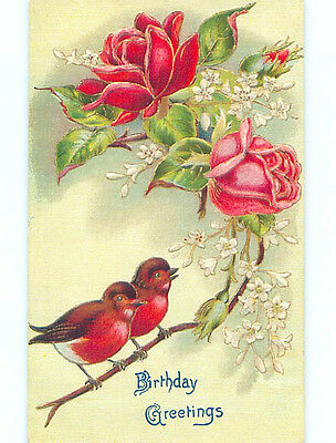 Pre-Linen RED BREASTED BIRDS SITTING ON STEM OF ROSE FLOWERS HJ4490