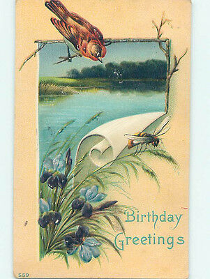 Pre-Linen BIRD WATCHES BUMBLEBEE BEE ON A PLANT HJ4493