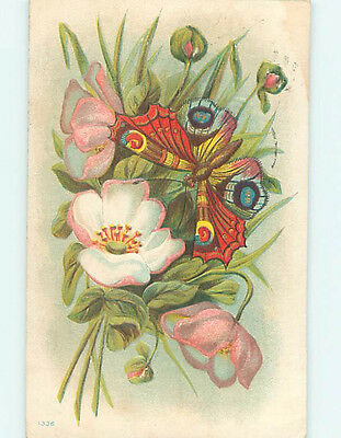 Pre-Linen art nouveau BEAUTIFUL LARGE COLORFUL BUTTERFLY ON PINK FLOWER HJ3620