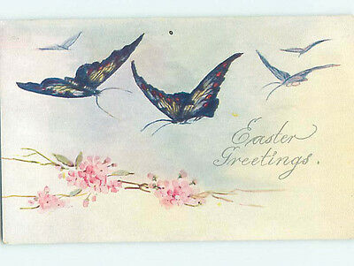 Pre-Linen easter BEAUTIFUL BLUE BUTTERFLY GROUP WITH PINK FLOWERS HJ4676