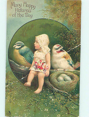 Bent Pre-Linen fantasy GIRL SITTING WITH BIRDS AS BIG AS HER BY THE NEST HJ4495
