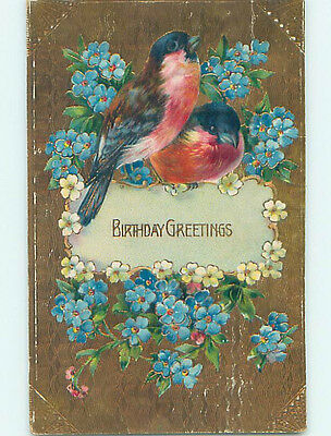 Pre-Linen BEAUTIFUL LARGE RED BREASTED BIRDS WITH FORGET-ME-NOT FLOWERS HJ3305