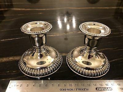 Vintage Birks Sterling Loaded Low Gadroon Candlesticks