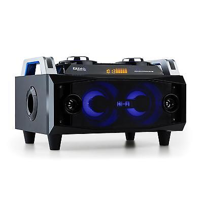 ibiza Sound Box Audiosystem 120 W Lautsprecher Bluetooth USB SD UKW Radio LED