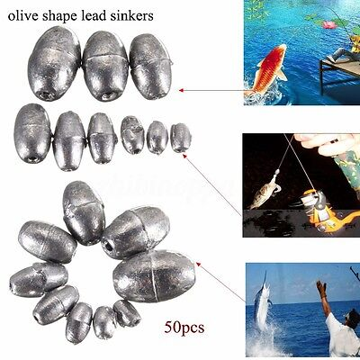 50x Metal Olive Shape Leads Sinkers Pure Lead Fishing Sinker Weights All Sizes