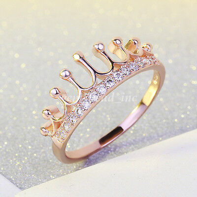 Princess Queen Crown Design Wedding Zircon Crystal Rose Gold Ring Women Jewelry
