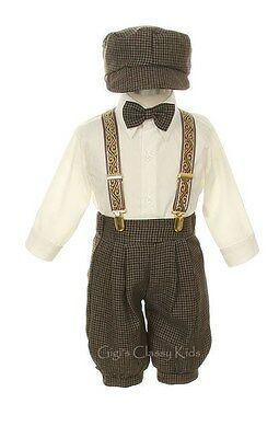 New Baby Toddler Boys Taupe Knickers Vintage Suit Set Outfit Easter Christmas