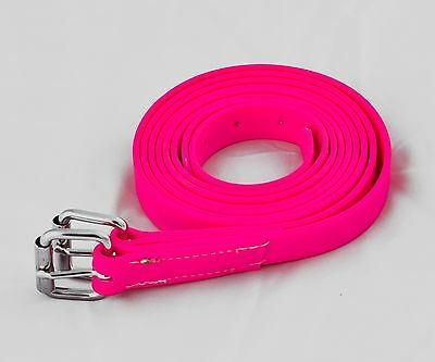 "Beta Bio Thane Vegan Stirrup Leathers Hot Pink 48"" Short Adult"