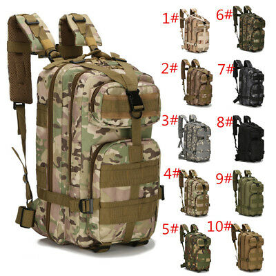 30L Molle Outdoor Military Tactical Bag Camping Hiking Trekking Backpack Camo