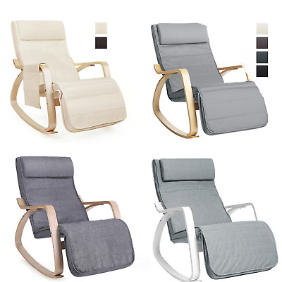 Relaxing Chair Rocking Chair Armchair Lounge Chair Adjust Footrest Birch Wood
