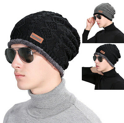 Men Women Baggy Unisex Crochet Winter Wool Knit Ski Beanie Skull Slouchy Cap Hat