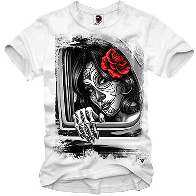 E1SYNDICATE T-SHIRT SANTA MUERTE HOT ROD PINSTRIPE ROCKABILLY DOPE 	2185c