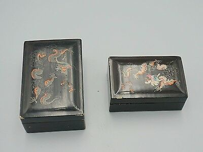 Two 19th C.Antique chinese lacquer boxes with marks