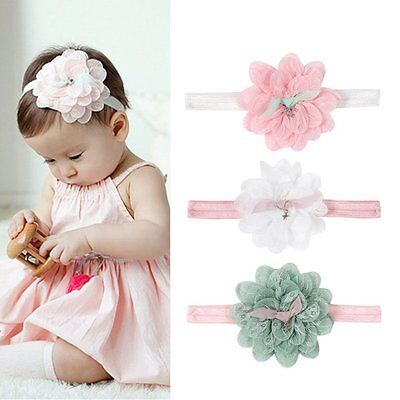 AU Newborn Kid Girl Flower Headband Infant Baby Lace Hair Bow Band Accessories
