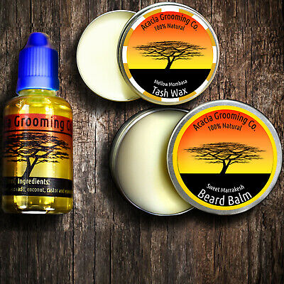 Acacia Grooming Co. Beard Oil + Balm + Tash Wax Starter Kit Set Organic Natural
