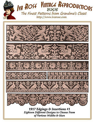 1917 Filet Lace Lovely Edgings & Insertions Set #1