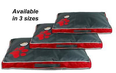 Sweet Dreams  Red and Grey Waterproof Pet Dog Bed Cushion - 3 Sizes Available