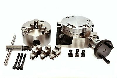"ROTARY TABLE 4"" with 100MM SELF CENTERING 3 JAW CHUCK with BACKPLATE"