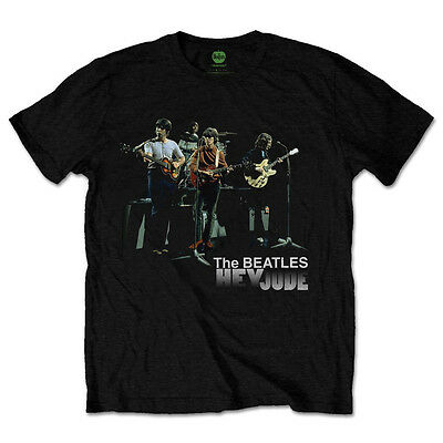 The Beatles T Shirts Mens Black RARE Hey Jude 2 Version Cotton SIZES SM - 2XL