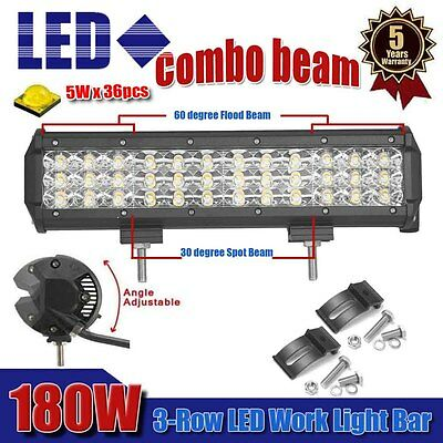 12 INCH 180W Tri-Row Cree Led Work LightBar Combo Offroad 4WD ATV Jeep Truck SUV