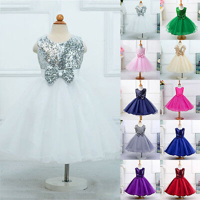 Kids Girls Glitter Sequined Bow Wedding Pageant Party Princess Flower Prom Dress