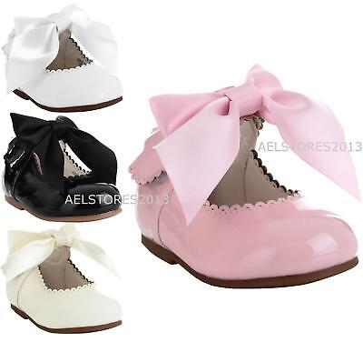 Girls Bridesmaids Bow Ribbon Party Shoes Patent Shoes Infant Sizes UK 1,3,5,7,8