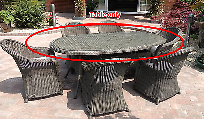 Milazzo 6 Seater Wicker/Rattan Effect Light Brown/Grey Garden Glass top table