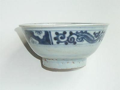 Beautiful Chinese Ming Dynasty Bowl With Dark Blue Ornate Design To Rim