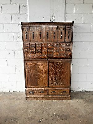 Antique Industrial Globe Wernicke 33 Drawer Office Filing Cabinet Jappaned