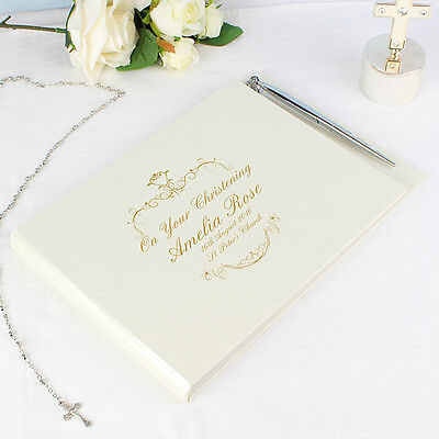 PERSONALISED Christening Guest Book + Pen. Gold Swirl. GUESTBOOK Baptism Naming