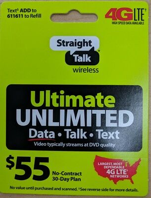 Straight Talk Rob 55 Refill Card Unlimited Talk Text 12GB Plan 30 Day $55 Top Up