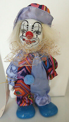 """Happy Smiling Clown Figurine Porcelain Face Hands Feet Colorful Costume 7"""" Tall"""